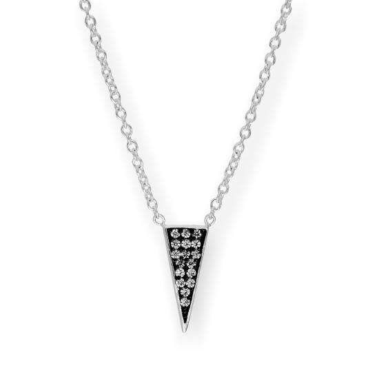 Sterling Silver & Clear CZ Crystal Spike Triangle 16 Inch Necklace