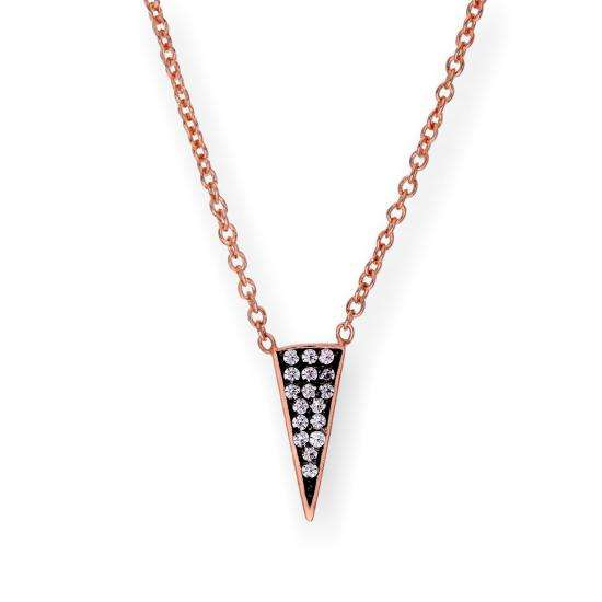 Rose Gold Plated Sterling Silver & CZ Crystal Spike Triangle 16 Inch Necklace