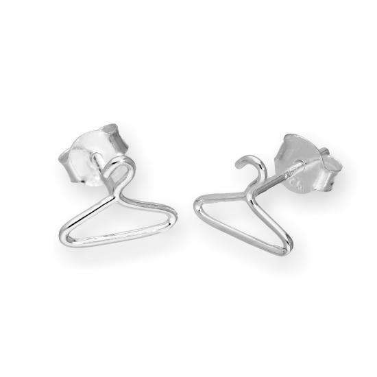 Sterling Silver Clothes Hanger Stud Earrings