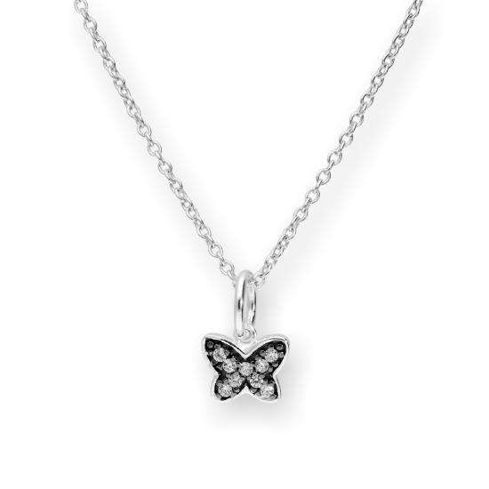 Sterling Silver & CZ Crystal Butterfly w Black Rhodium Necklace 16 - 22 Inches