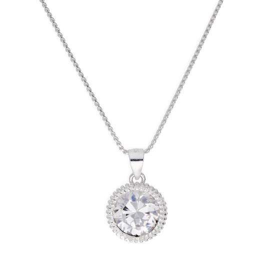 Sterling Silver Large Round Clear CZ Beaded Set Pendant