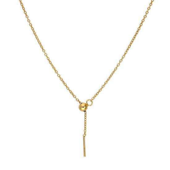 Gold Plated Sterling Silver Adjustable Choker to 20 Inch Belcher Chain Necklace w Bead Slider Clasp
