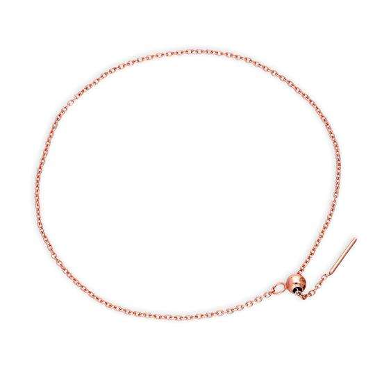Rose Gold Dipped Sterling Silver 7 Inch Belcher Chain Bracelet w Bead Slider Clasp