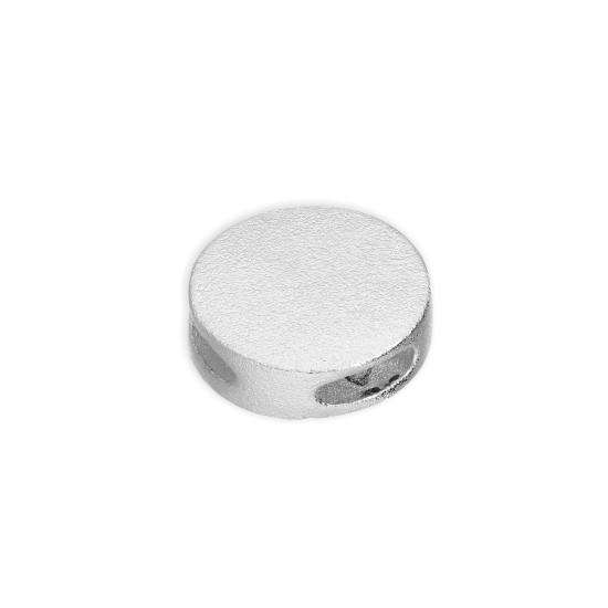 Sterling Silver 9mm Frosted Flat Round Disc Bead