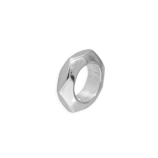 Sterling Silver 2mm Polished Small Hexagon Cut Ring Bead