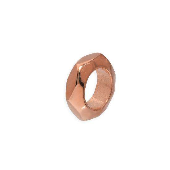 Rose Gold Plated Sterling Silver 2mm Polished Small Hexagon Cut Ring Bead