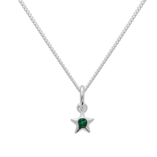 Sterling Silver & Emerald CZ Crystal May Birthstone Star Pendant Necklace 14 - 32 Inches
