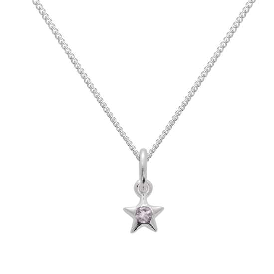 Sterling Silver & Alexandrite CZ Crystal June Birthstone Star Pendant Necklace 14 - 32 Inches