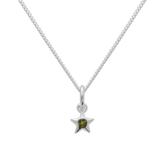 Sterling Silver & Peridot CZ Crystal August Birthstone Star Pendant Necklace 14 - 32 Inches
