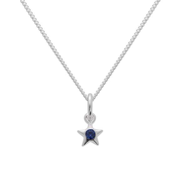 Sterling Silver & Sapphire CZ Crystal September Birthstone Star Pendant Necklace 14 - 32 Inches