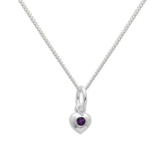Sterling Silver & Amethyst CZ Crystal February Birthstone Heart Necklace