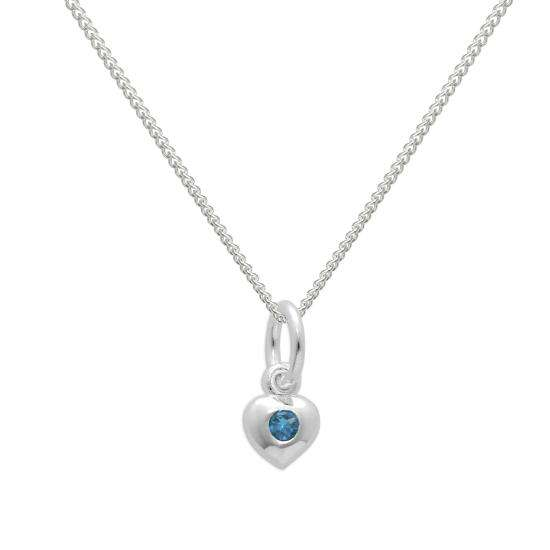 Sterling Silver & Aquamarine CZ Crystal March Birthstone Heart Necklace