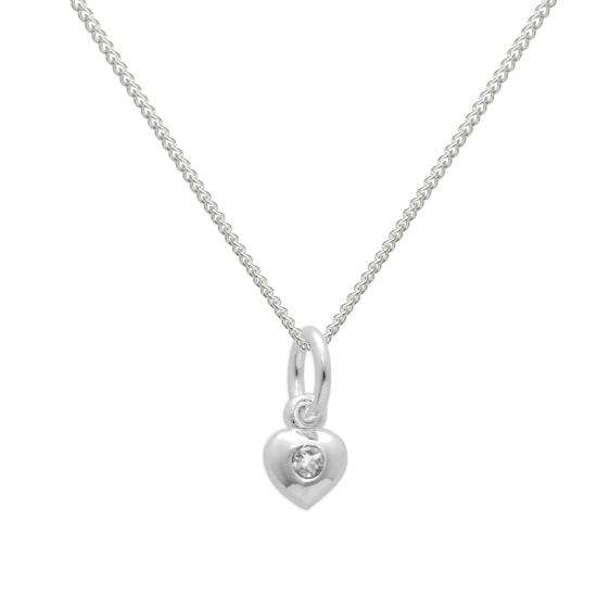 Sterling Silver & Clear CZ Crystal April Birthstone Heart Necklace