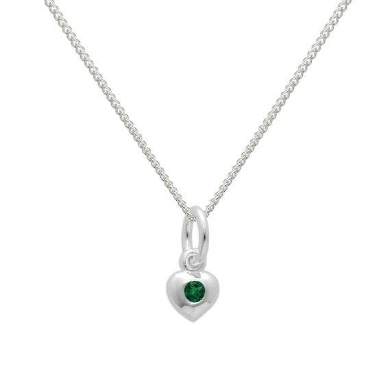 Sterling Silver & Emerald CZ Crystal May Birthstone Heart Necklace