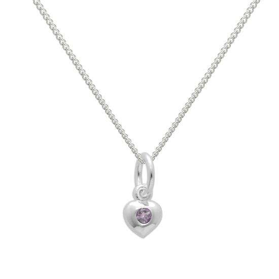 Sterling Silver & Alexandrite CZ Crystal June Birthstone Heart Necklace