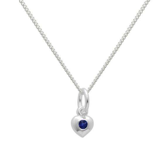 Sterling Silver & Sapphire CZ Crystal September Birthstone Heart Necklace