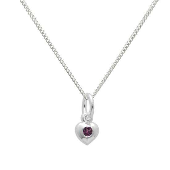 Sterling Silver & Tourmaline CZ Crystal October Birthstone Heart Necklace