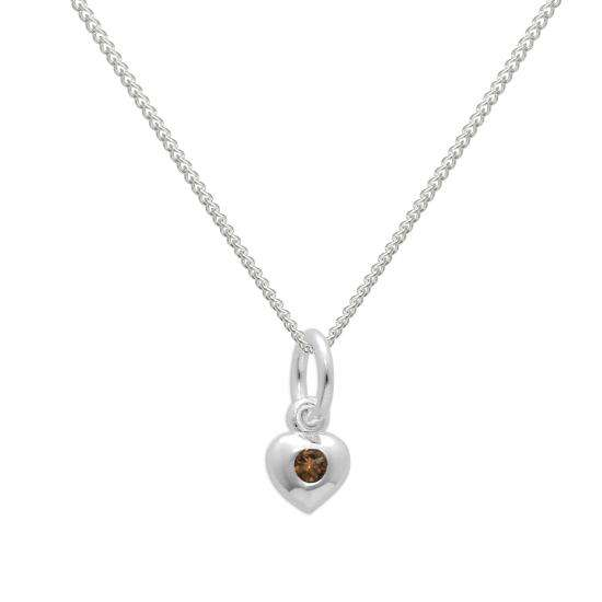 Sterling Silver & Citrine CZ Crystal November Birthstone Heart Necklace
