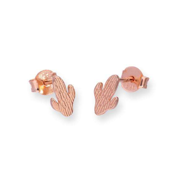 Rose Gold Plated Sterling Silver Cactus Stud Earrings