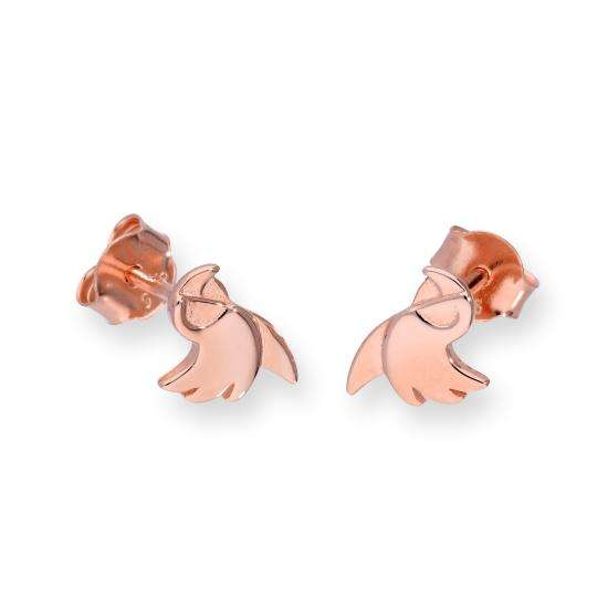 Rose Gold Plated Sterling Silver Parrot Stud Earrings