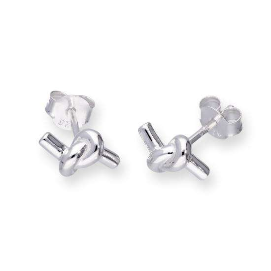 Sterling Silver Knotted Rope Stud Earrings