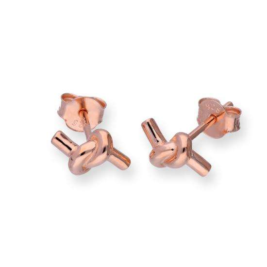 Rose Gold Plated Sterling Silver Knotted Rope Stud Earrings