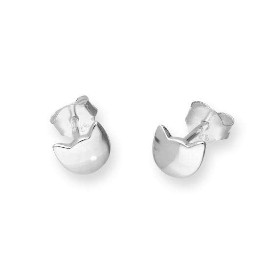 Sterling Silver Cat Head Stud Earrings