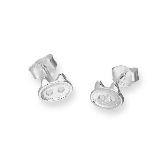 Sterling Silver Cats Head Button Stud Earrings