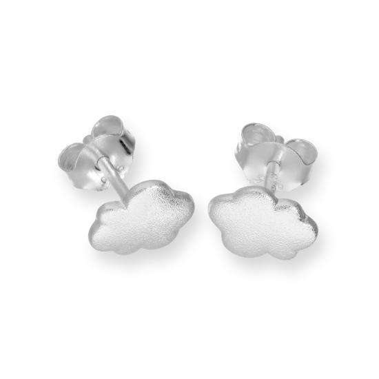 Sterling Silver Frosted Cloud Stud Earrings