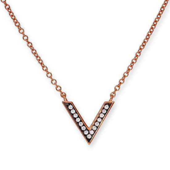 Rose Gold Plated Sterling Silver & Clear CZ Crystal V Necklace