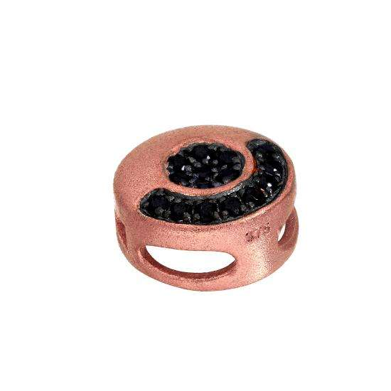 9ct Rose Gold & Black CZ Crystal Flat Round Bead Charm