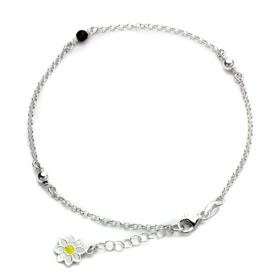 Sterling Silver Daisy & Bead Anklet