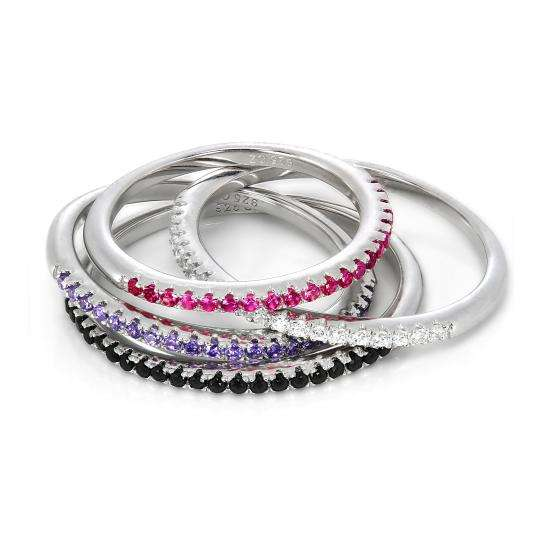 Sterling Silver & CZ Crystal 1.5mm Half Eternity Stacking Ring Size J - S