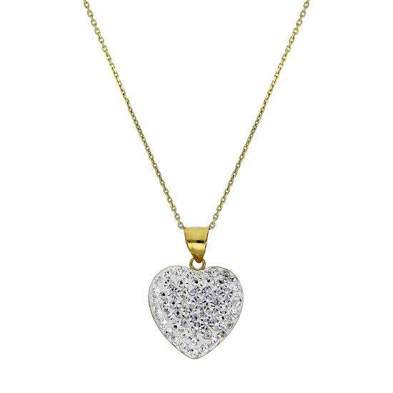 9ct Gold & Clear CZ Crystal Encrusted Heart Pendant Necklace 16 - 20 Inches