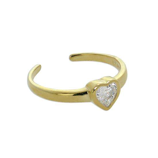 9ct Gold & Clear CZ Crystal Heart Toe Ring