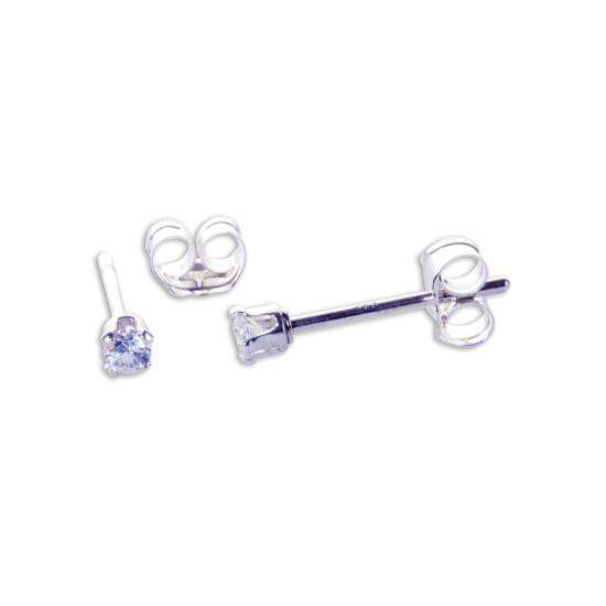 Sterling Silver Clear CZ 2mm Round Stud Earrings