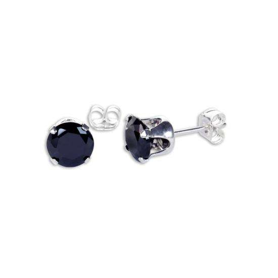 Sterling Silver Black CZ 6mm Round Stud Earrings