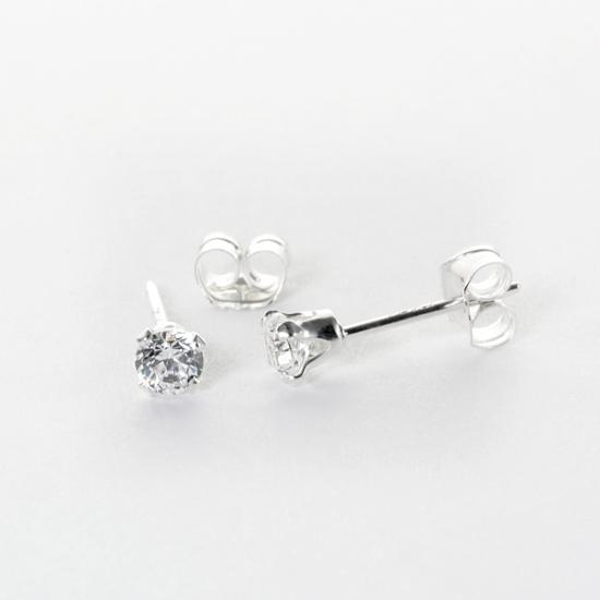 Sterling Silver Clear CZ 3mm Round Stud Earrings