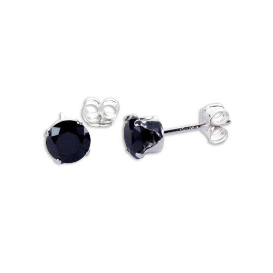 Sterling Silver Black CZ 5mm Round Stud Earrings
