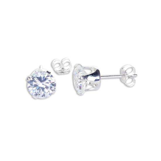 Sterling Silver Clear CZ 6mm Round Stud Earrings