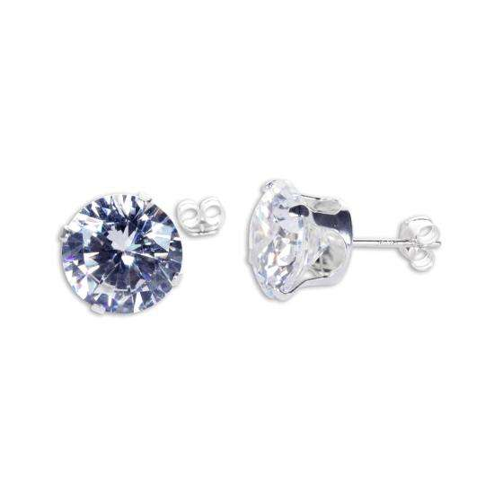 Sterling Silver Clear CZ 10mm Round Stud Earrings