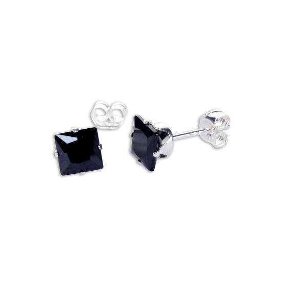 Sterling Silver Black CZ 5mm Square Stud Earrings