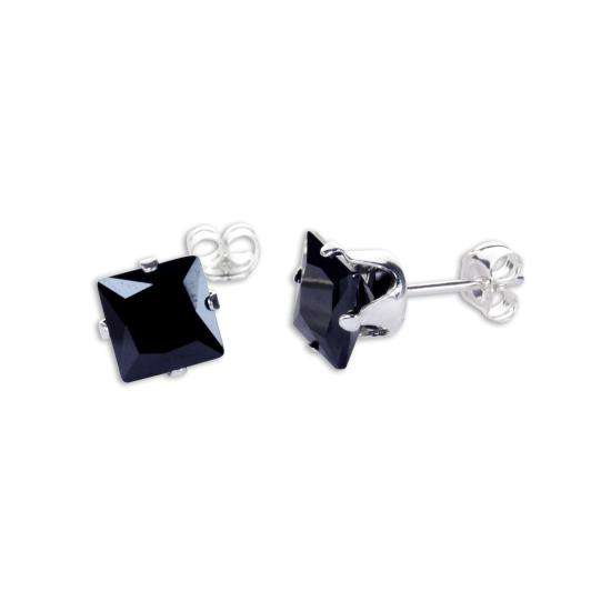 Sterling Silver Black CZ 6mm Square Stud Earrings