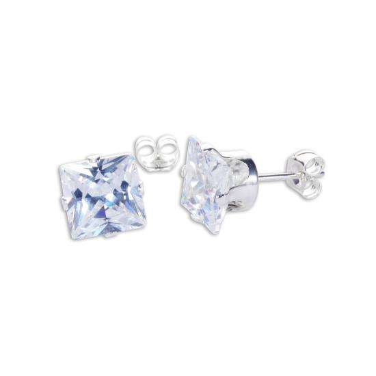 Sterling Silver Clear CZ 7mm Square Stud Earrings