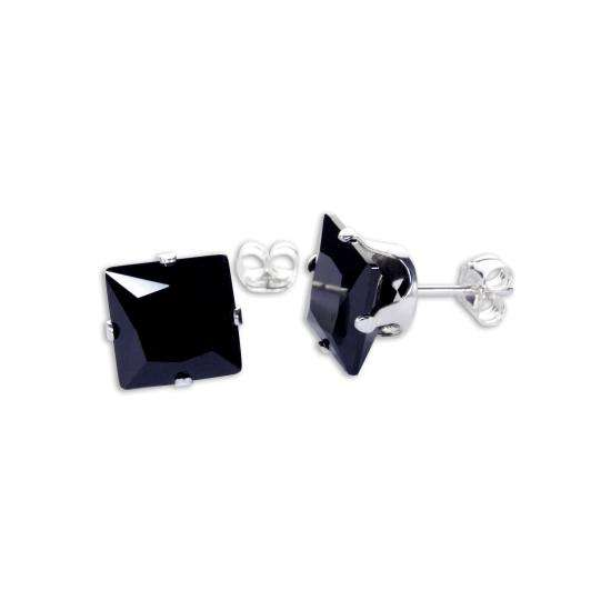 Sterling Silver Black CZ 8mm Square Stud Earrings