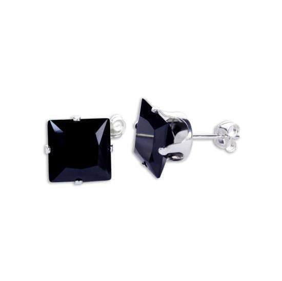 Sterling Silver Black CZ 9mm Square Stud Earrings