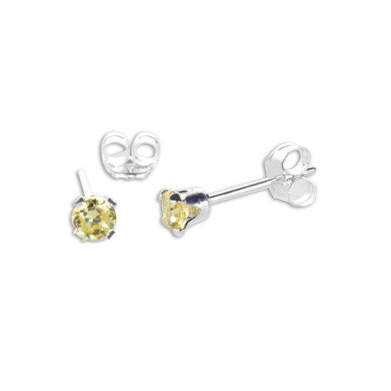 Sterling Silver Citrine CZ 3mm Round Stud Earrings