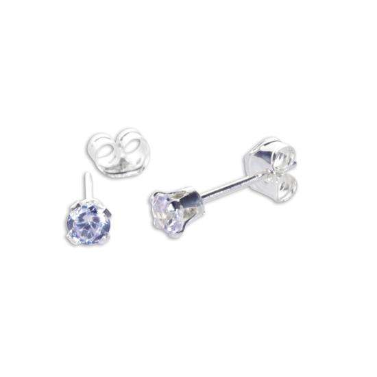 Sterling Silver Lavender CZ 3mm Round Stud Earrings