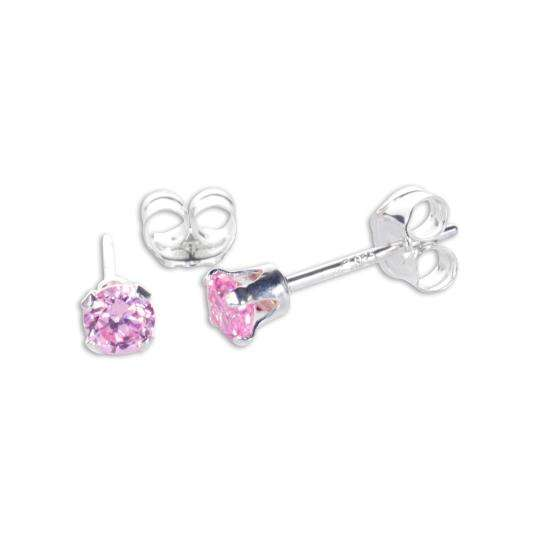 Sterling Silver Pink CZ 3mm Round Stud Earrings