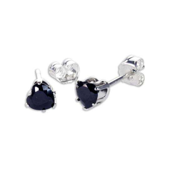 Sterling Silver Black CZ 4mm Heart Stud Earrings